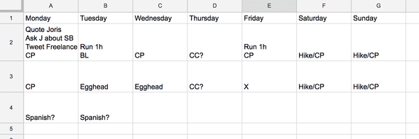 Simple spreadsheet setup.